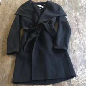 Tahari Handmade Black Wool Blend Belted Coat S